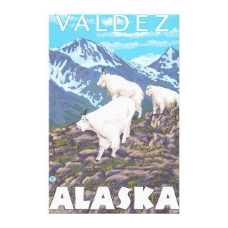 Escena de las cabras de montaña - Valdez Alaska Lona Estirada Galerias