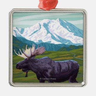 Escena de los alces - el Yukón, Alaska Ornamentos De Navidad