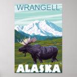 Escena de los alces - Wrangell, Alaska Póster