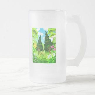 Escena de los árboles forestales y de las flores d taza cristal mate