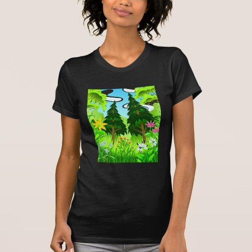 Escena de los árboles forestales y de las flores t shirt