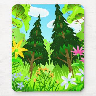 Escena de los árboles forestales y de las flores alfombrilla de ratón