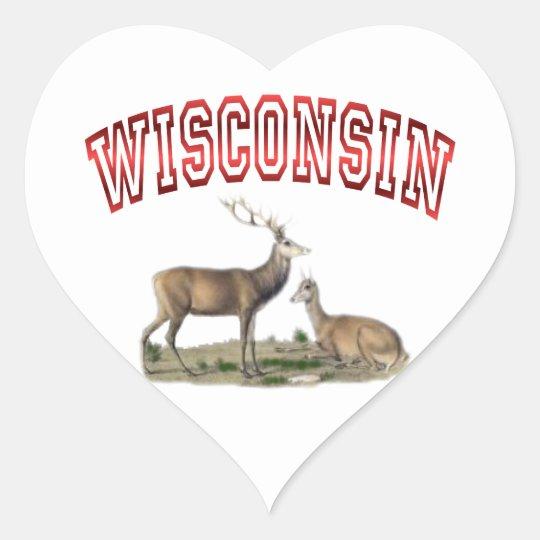 Escena de los ciervos de Wisconsin Pegatina En Forma De Corazón