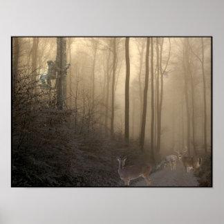 Escena de los ciervos del invierno impresiones