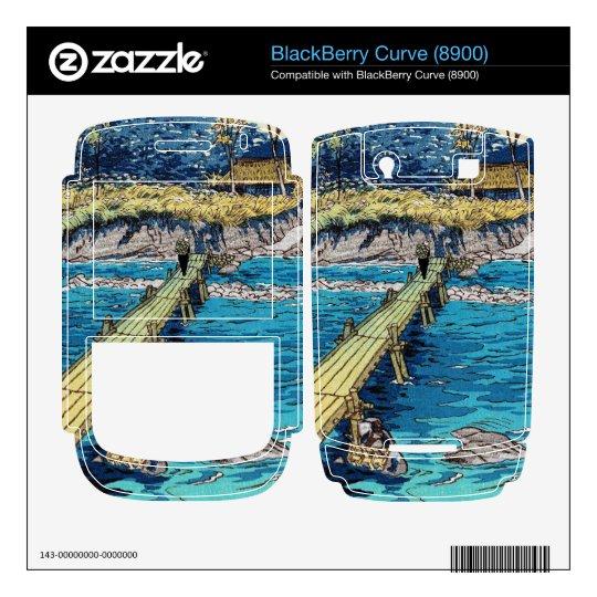 Escena de madera del puente del japonés del río fr calcomanía para BlackBerry