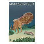 Escena de MassachusettsCuttlefish Impresión En Madera