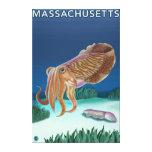 Escena de MassachusettsCuttlefish Impresión En Tela