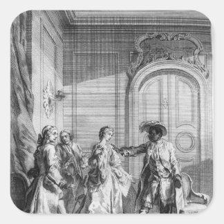 "Escena de ""Othello"" por William Shakespeare Pegatina Cuadrada"