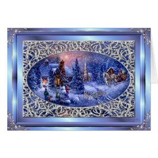 Escena de plata Greetng Crd del navidad de las Fel Tarjeton