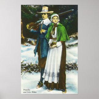 Escena de Priscilla y de Juan Alden Póster