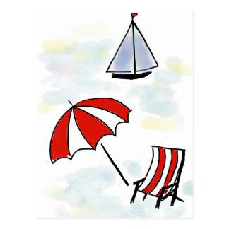 Escena de relajación de la playa - bosquejo postal