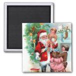 Escena de Santa del navidad del vintage Imanes Para Frigoríficos