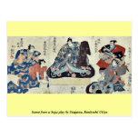 Escena de un juego de Soga por Utagawa, Kuniyoshi  Tarjeta Postal