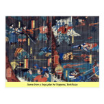 Escena de un juego de Soga por Utagawa, Yoshikazu Tarjeta Postal