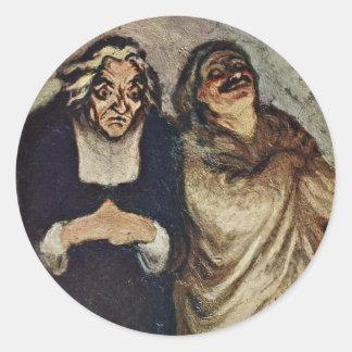 Escena de una comedia de Molière de Daumier Honoré Pegatina