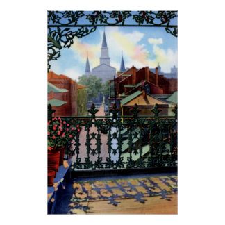 Escena del balcón de New Orleans Luisiana Vieux Ca Póster