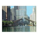 Escena del barco de la impulsión del río Chicago C Tarjetas Postales