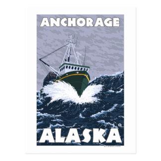 Escena del barco de pesca - Anchorage, Alaska Postal