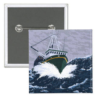 Escena del barco de pesca - curry, Alaska Pins
