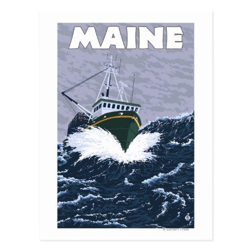 Escena del barco de pesca de MaineCrab Tarjetas Postales
