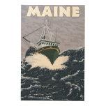 Escena del barco de pesca de MaineCrab Impresión En Madera
