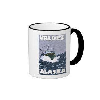 Escena del barco de pesca - Valdez Alaska Taza De Café