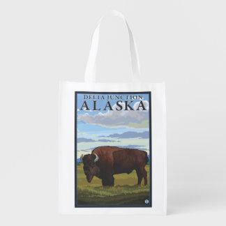 Escena del bisonte - empalme del delta, Alaska Bolsa Para La Compra