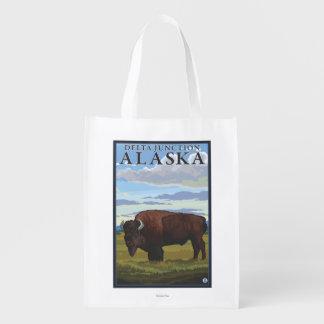 Escena del bisonte - empalme del delta, Alaska Bolsa Reutilizable