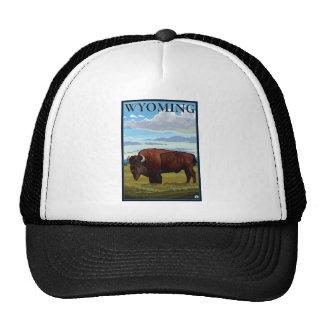 Escena del bisonte - Wyoming Gorros Bordados