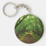 Escena del bosque con la trayectoria llaveros personalizados