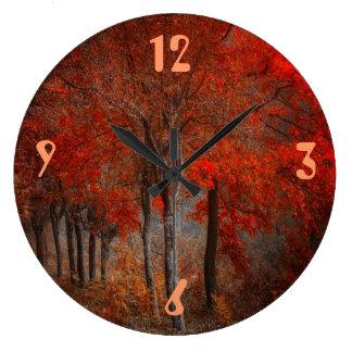 Escena del bosque del vintage reloj redondo grande