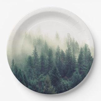 Escena del bosque que calma plato de papel de 9 pulgadas