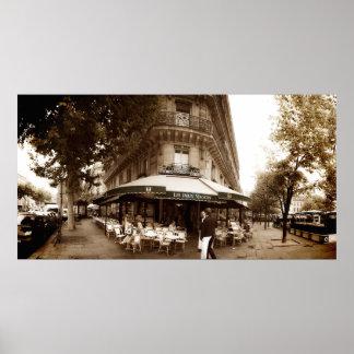 Escena del café de París (i) - panorama Póster