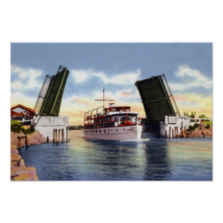 Escena del canal de Delray Beach la Florida Póster