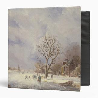 Escena del canal del invierno, siglo XIX