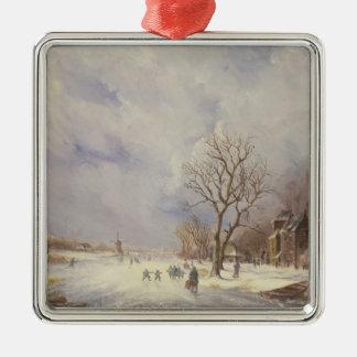 Escena del canal del invierno, siglo XIX Adorno De Navidad