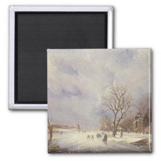 Escena del canal del invierno, siglo XIX Imán De Frigorífico