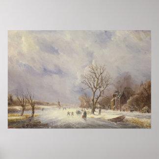 Escena del canal del invierno, siglo XIX Impresiones