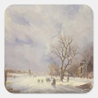 Escena del canal del invierno, siglo XIX Pegatina Cuadradas Personalizadas