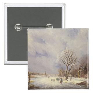 Escena del canal del invierno, siglo XIX Pins