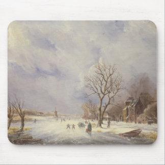 Escena del canal del invierno, siglo XIX Tapete De Ratones
