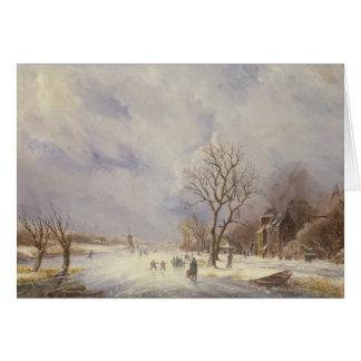 Escena del canal del invierno, siglo XIX Felicitaciones