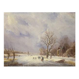 Escena del canal del invierno, siglo XIX Tarjetas Postales