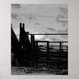 Escena del canal inclinado del ganado póster