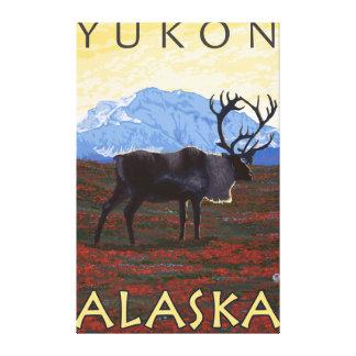 Escena del caribú - el Yukón, Alaska Impresión De Lienzo