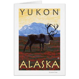 Escena del caribú - el Yukón, Alaska Felicitacion