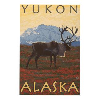 Escena del caribú - el Yukón, Alaska Cuadro De Madera