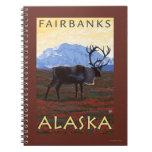 Escena del caribú - Fairbanks, Alaska Spiral Notebooks