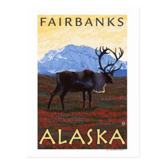 Escena del caribú - Fairbanks, Alaska Postales
