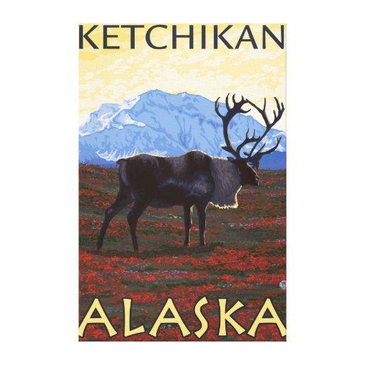 Escena del caribú - Ketchikan, Alaska Lienzo Envuelto Para Galerias